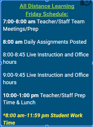 Friday Schedule Graphic